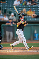 Matt Thaiss (21) of the Salt Lake Bees bats against the Reno Aces at Smith's Ballpark on June 26, 2019 in Salt Lake City, Utah. The Aces defeated the Bees 6-4. (Stephen Smith/Four Seam Images)