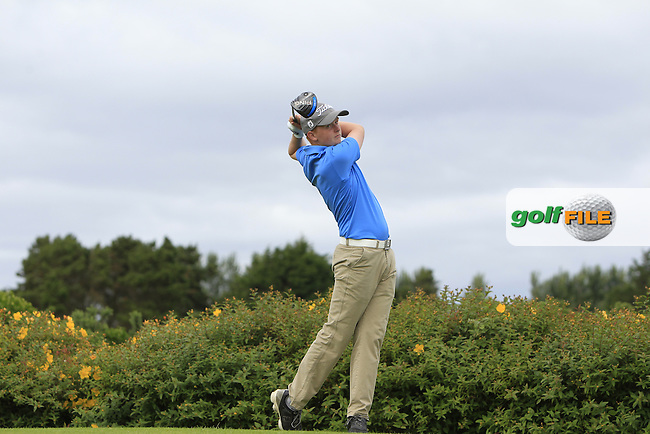 Harry Duggan (Kilkenny) on the 18th tee during R1 of the 2016 Connacht U18 Boys Open, played at Galway Golf Club, Galway, Galway, Ireland. 05/07/2016. <br /> Picture: Thos Caffrey   Golffile<br /> <br /> All photos usage must carry mandatory copyright credit   (&copy; Golffile   Thos Caffrey)
