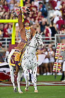 October 31, 2009:   FSU mascot, Chief Osceola rides Renegade on the field prior to the start of Atlantic Coast Conference action between the North Carolina State Wolfpack and Florida State Seminoles at Doak Campbell Stadium in Tallahassee, Florida.