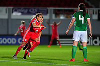 Kayleigh Green of Wales celebrates scoring her side's second goal during the UEFA Womens Euro Qualifier match between Wales and Northern Ireland at Rodney Parade in Newport, Wales, UK. Tuesday 03, September 2019