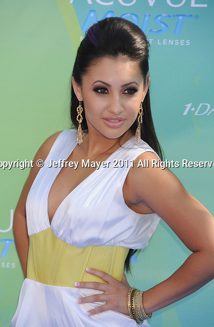 UNIVERSAL CITY, CA - AUGUST 07: Francia Raisa arrive at the 2011 Teen Choice Awards held at the Gibson Amphitheatre on August 7, 2011 in Universal City, California.