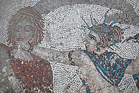 Roman mosaic of the Abduction of Hylas by the nymphs, 3rd century AD, from the House of the Procession of Venus, Volubilis, Northern Morocco. Volubilis was founded in the 3rd century BC by the Phoenicians and was a Roman settlement from the 1st century AD. Volubilis was a thriving Roman olive growing town until 280 AD and was settled until the 11th century. The buildings were largely destroyed by an earthquake in the 18th century and have since been excavated and partly restored. Volubilis was listed as a UNESCO World Heritage Site in 1997. Picture by Manuel Cohen