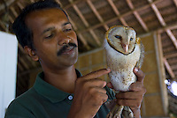 Mararikulam, Kerala, India, April 2008. A rescued owl. Marari Beach Resort by CGH Earth is the prime spot for a luxory beach holiday. The backwaters of Kerala and the Malabar coast are reknowned for its rich history and its importance for the spice trade. Photo by Frits Meyst/Adventure4ever.com