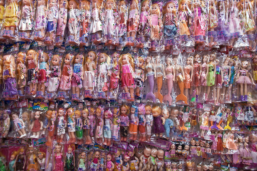 Plastic toy dolls for sale in the Yiwu Small Commodity Market, the world's largest wholesalers market selling more than 17 million kinds of commodities that are exported all over the globe. More than 200 metric tones of goods are exported from Yiwu every day.