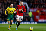 Brandon Williams (r) of Manchester United runs away from Emi Buendia of Norwich City during the Premier League match at Old Trafford, Manchester. Picture date: 11th January 2020. Picture credit should read: James Wilson/Sportimage