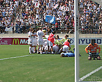 The Washington Freedom celebrate in front of their fans by piling onto gamewinner Abby Wambach at Torero Stadium in San Diego, CA on 8/24/03 after the WUSA's Founders Cup III between the Atlanta Beat and Washington Freedom. The Freedom won 2-1 in overtime.