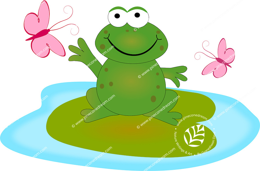 Stock illustration of happy smiling frog sitting on lily leaf floating in water playing with butterflies.<br /> <br /> This image is also available as scalable EPS and PNG format(with transparent background).