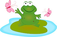 Stock illustration of happy smiling frog sitting on lily leaf floating in water playing with butterflies.<br />