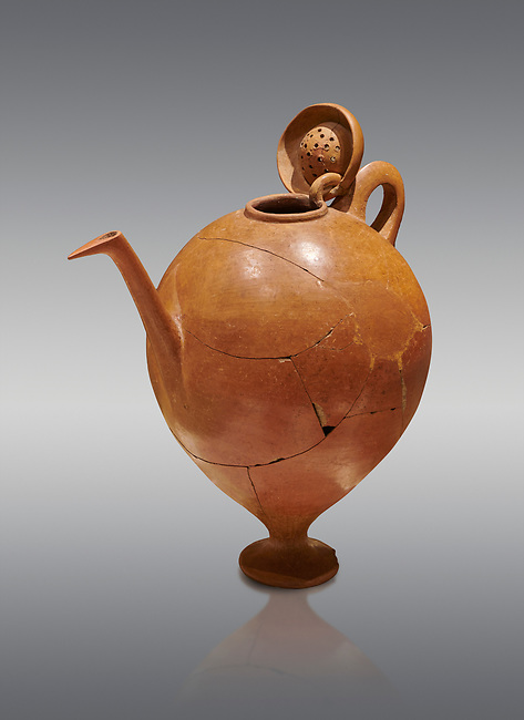 Terra cotta Hittite beaker shaped side spouted pitcher with lid - 1700 BC to 1500BC - Kültepe Kanesh - Museum of Anatolian Civilisations, Ankara, Turkey. Against a grey  background