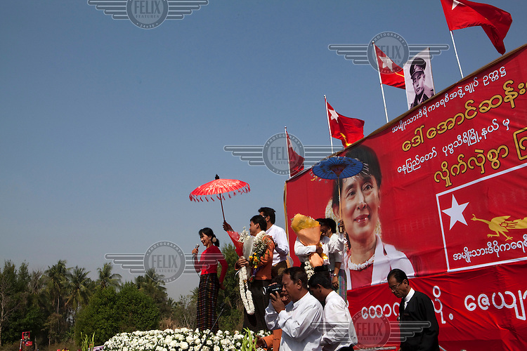 Aung San Suu Kyi, leader of the National League for Democracy, the country's main opposition party and democracy movement, addresses a crowd of supporters during a campaign rally ahead of bi-elections planned for April 2012, near Naypyitaw (Naypidaw)..