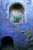 Arequipa, Peru. Plant in a pot in a stone alcove in a fading blue painted wall in the Santa Catalina Convent.