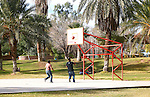 Man and woman play basketball in the park beneath the palm trees