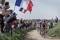 Tony Martin (GER/Katusha Alpecin) leading the pack over the cobbles of sector 25.<br /> <br /> 116th Paris-Roubaix (1.UWT)<br /> 1 Day Race. Compiègne - Roubaix (257km)
