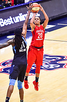 Washington, DC - September 2 2018: Washington Mystics guard Kristi Toliver (20) hits a three pointer over Atlanta Dream forward Jessica Breland (51) during semifinals game against Atlanta Dream. Mystics even the series and force a deciding game 5 in Atlanta with a 97-76 win at the Charles Smith Center at George Washington University in Washington, DC. (Photo by Phil Peters/Media Images International)