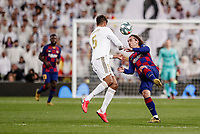 1st March 2020; Estadio Santiago Bernabeu, Madrid, Spain; La Liga Football, Real Madrid versus Club de Futbol Barcelona; Antoine Griezmann (FC Barcelona) clatters into Varane of Madrid