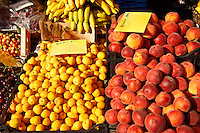 Fresh peaches & apricots outside a fruit shop, Corfu, Greek Ionian Islands