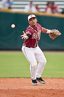 March 29, 2011:   Florida State Seminoles inf Devon Travis (8) pitches the ball to second base during action between Florida Gators and Florida State Seminoles played at the Baseball Grounds of Jacksonville in Jacksonville, Florida.  Florida State defeated Florida 5-2............