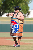 Barrel Boy, a personality with 102.5 KNIX radio station, delivers the first pitch before the Arizona Fall League Championship game between the Salt River Rafters and the Peoria Javelinas at Scottsdale Stadium on November 17, 2018 in Scottsdale, Arizona. Peoria defeated Salt River 3-2 in extra innings. (Zachary Lucy/Four Seam Images)
