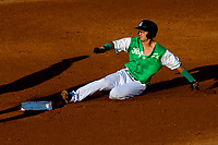 Jackson Generals first baseman Josh Prince (8) slides into second base during a Southern League game against the Biloxi Shuckers on July 27, 2018 at The Ballpark at Jackson in Jackson, Tennessee. Biloxi defeated Jackson 15-7. (Brad Krause/Four Seam Images)