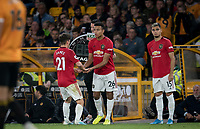 Mason Greenwood of Man Utd replaces Daniel James of Man Utd during the Premier League match between Wolverhampton Wanderers and Manchester United at Molineux, Wolverhampton, England on 19 August 2019. Photo by Andy Rowland.