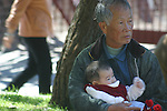 GRANDFATHER HOLDS BABY UNDER TREE IN CHINATOWN SAN FRANCISCO