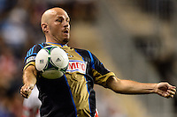 Conor Casey (6) of the Philadelphia Union. The Philadelphia Union defeated D. C. United 2-0 during a Major League Soccer (MLS) match at PPL Park in Chester, PA, on August 10, 2013.