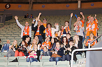 25.03.2012 MADRID, SPAIN -  EHF Champions League match played between BM At. Madrid vs Kadetten Schaffhausen (26-30) at Palacio Vistalegre stadium. the picture show fans Kadetten Schaffhausen