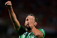 MEDELLÍN-COLOMBIA, 25-08-2019: Hernán Barcos de Atlético Nacional, celebra el gol anotado a Deportivo Independiente Medellín, durante partido de la fecha 8 entre Atlético Nacional y Deportivo Independiente Medellín, por la Liga Águila II 2019, jugado en el estadio Atanasio Girardot de la ciudad de Medellín. / Hernán Barcos of Atletico Nacional celebrates the scored goal to Deportivo Independiente Medellin, during a match of the 8th date between Atletico Nacional and Deportivo Independiente Medellin, for the Aguila Leguaje II 2019 played at the Atanasio Girardot Stadium in Medellin city. / Photo: VizzorImage / León Monsalve / Cont.