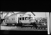 RGS Goose #3 stopped northbound at Mancos depot to exchange freight and express with the truck at right.  Same or better image as RD144-078.<br /> RGS  Mancos, CO  Taken by Kelley, Frank O. - 7/8/1942