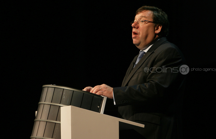07/09/2010.An Taosieach Brian Cowen TD. at the opening of the Convention Centre in Spencers Dock,  Dublin..Photo: Gareth Chaney Collins
