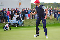 Daniel Berger (USA) sinks his birdie putt on 16 to win the match during round 3 Four-Ball of the 2017 President's Cup, Liberty National Golf Club, Jersey City, New Jersey, USA. 9/30/2017.<br /> Picture: Golffile | Ken Murray<br /> <br /> All photo usage must carry mandatory copyright credit (&copy; Golffile | Ken Murray)