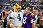 Quarterback Brett Favre #4 of the Green Bay Packers talks to ex-teammate and current kicker Ryan Longwell #8 of the Minnesota Vikings after the game at Hubert H. Humphrey Metrodome on September 30, 2007 in Minneapolis, Minnesota. The Packers beat the Vikings 23-16. (Photo by David Stluka)