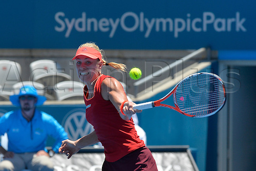 11.01.16 Sydney, Australia. Angelique Kerber (GER) in action against Elina Svitolina (UKR) during their womens singles match on day 2 at the Apia International Sydney.