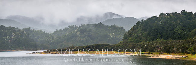 Moody scene at Lake Waikaremoana in rain, Te Urewera, Hawke's Bay, North Island, New Zealand, NZ