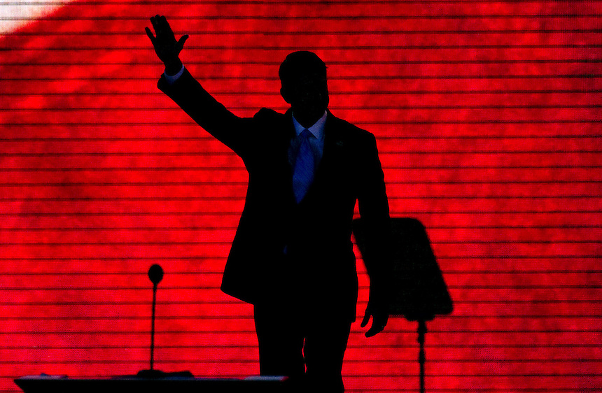 UNITED STATES - AUGUST 29: Mitt Romney's Vice Presidential running mate, Rep. Paul Ryan, R-Wis., arrives to give his speech on the third night of the 2012 Republican National Convention at the Tampa Bay Times Forum. (Photo By Chris Maddaloni/CQ Roll Call)