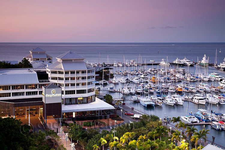 The Shangri-La Hotel and Marlin Marina at dusk.  Cairns, Queensland, Australia