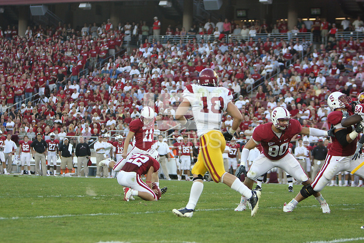 Stanford, CA - NOVEMBER 15:  Kicker Aaron Zagory #11 of the Stanford Cardinal during Stanford's 45-23 loss against the USC Trojans on November 15, 2008 at Stanford Stadium in Stanford, California.