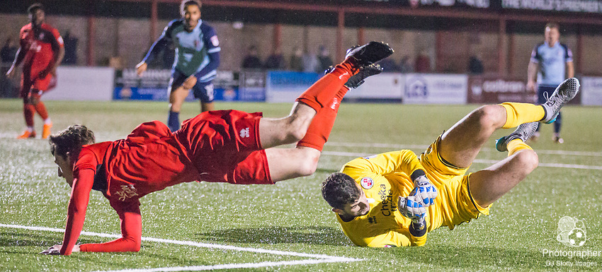 Will Hendon (Eastbourne) flies over the top of Yusef Mersin(GK) (Crawley) during Parafix Sussex Senior Cup Quarter Final between Eastbourne Borough FC & Crawley Town FC on Tuesday 09 January 2018 at Priory Lane. Photo by Jane Stokes (DJ Stotty Images)