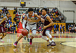 WEST HARTFORD, CT. 15 March 2018-031518BS20 - Isiah Gaiter (2) from Sacred Heart dribbles past Jerry Woodard (10) from Windsor at the Div I semi-finals between Sacred Heart vs Windsor at University of Hartford on Thursday evening. Sacred Heart won in a thriller 59-58 over Windsor and advances to the finals at Mohegan Sun. Bill Shettle Republican-American