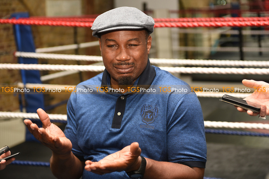 Lennox Lewis speaks during a Press Conference to discuss the Joshua-Klitschko fight at Fitzroy Lodge Gym on 25th April 2017