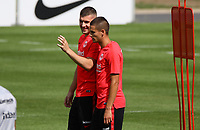 Ante Rebic (Eintracht Frankfurt), Mijat Gacinovic (Eintracht Frankfurt)- 08.08.2018: Eintracht Frankfurt Training, Commerzbank Arena<br /> <br /> DISCLAIMER: <br /> DFL regulations prohibit any use of photographs as image sequences and/or quasi-video.