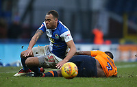 Blackburn Rovers' Elliott Bennett is tackled by Oldham Athletic's Wilfried Moimbe<br /> <br /> Photographer Stephen White/CameraSport<br /> <br /> The EFL Sky Bet League One - Blackburn Rovers v Oldham Athletic - Saturday 10th February 2018 - Ewood Park - Blackburn<br /> <br /> World Copyright &copy; 2018 CameraSport. All rights reserved. 43 Linden Ave. Countesthorpe. Leicester. England. LE8 5PG - Tel: +44 (0) 116 277 4147 - admin@camerasport.com - www.camerasport.com<br /> <br /> Photographer Stephen White/CameraSport<br /> <br /> The EFL Sky Bet League One - Blackburn Rovers v Oldham Athletic - Saturday 10th February 2018 - Ewood Park - Blackburn<br /> <br /> World Copyright &copy; 2018 CameraSport. All rights reserved. 43 Linden Ave. Countesthorpe. Leicester. England. LE8 5PG - Tel: +44 (0) 116 277 4147 - admin@camerasport.com - www.camerasport.com