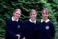 School girls age 15 in traditional uniforms, Adare, Ireland