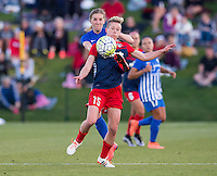 Boyds, MD - April 16, 2016: Washington Spirit midfielder Joanna Lohman (15) and Boston Breakers midfielder Louise Schillgard (10). The Washington Spirit defeated the Boston Breakers 1-0 during their National Women's Soccer League (NWSL) match at the Maryland SoccerPlex.