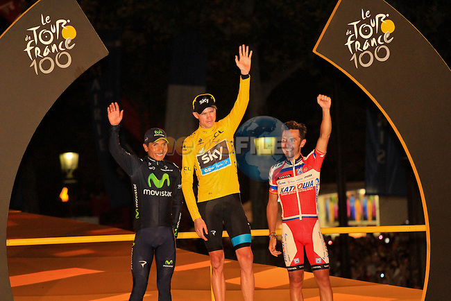 Christopher Froome (GBR) Sky Procycling wins the Yellow Jersey and the 2013 Tour de France, 2nd place Nairo Alexander Quintana (COL) Movistar Team and 3rd place Joaquim Rodriguez (ESP) Katusha Team on the podium at the end of the Final Stage 21 of the 100th Edition of the 2013 Tour de France from Versailes to Paris Champs-Elysees. 21st July 2013.<br /> (Photo:Thomas van Bracht / Peloton Photos/www.newsfile.ie)