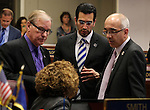 Nevada Senate Democrats, from left, David Parks, Debbie Smith, Ruben Kihuen and Mo Denis talk on the Senate floor during the final minutes of the 77th Legislative session in Carson City, Nev., on Monday, June 3, 2013. (AP Photo/Cathleen Allison)