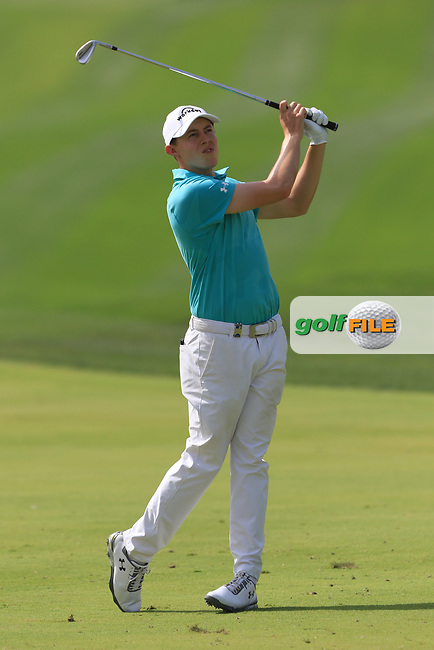 Matthew Fitzpatrick (ENG) on the 1st fairway during Round 4 of the Omega Dubai Desert Classic, Emirates Golf Club, Dubai,  United Arab Emirates. 27/01/2019<br /> Picture: Golffile | Thos Caffrey<br /> <br /> <br /> All photo usage must carry mandatory copyright credit (© Golffile | Thos Caffrey)