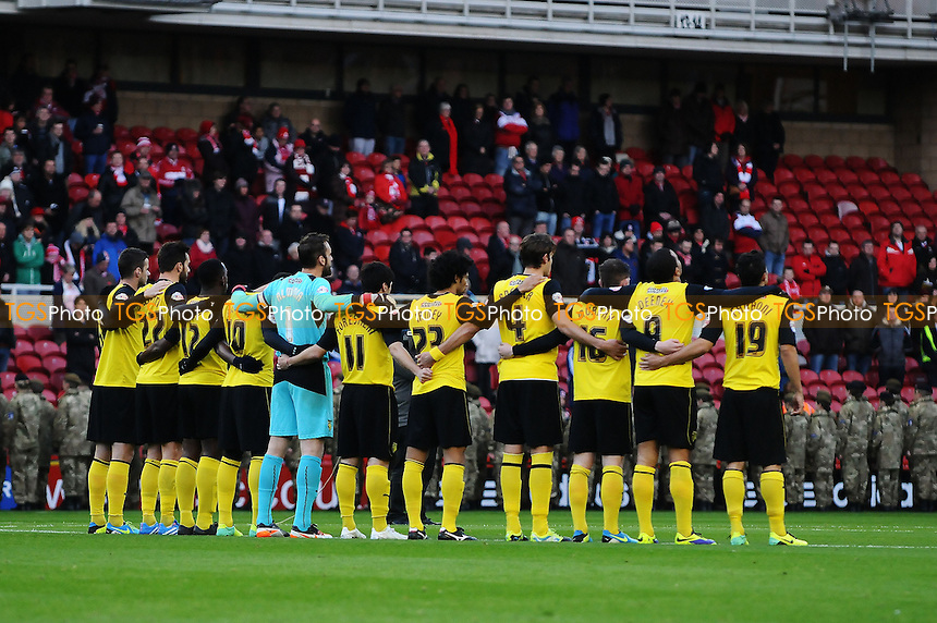 Watford players observe a minute silence - Middlesbrough vs Watford - Sky Bet Championship Football at the Riverside Stadium, Middlesbrough - 09/11/13 - MANDATORY CREDIT: Steven White/TGSPHOTO - Self billing applies where appropriate - 0845 094 6026 - contact@tgsphoto.co.uk - NO UNPAID USE