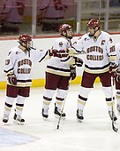 Pat Gannon (BC - 13), Ben Smith (BC - 12), Brian Boyle (BC - 10) - The Boston College Eagles defeated the visiting Northeastern University Huskies 7-1 on Friday, March 9, 2007, to win their Hockey East quarterfinals matchup in two games at Conte Forum in Chestnut Hill, Massachusetts.