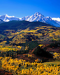 Mount Sneffels (14110 feet) and the San Juan Mountains with autumn aspen trees near Telluride, Colorado, USA John offers autumn photo tours throughout Colorado.